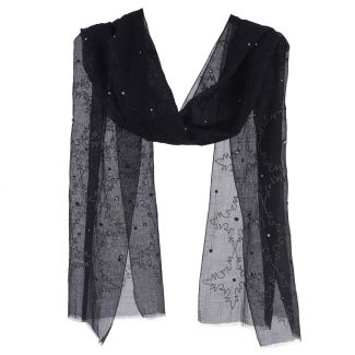 Silk and cotton scarf Marina D'Este black with silver thread and pearls