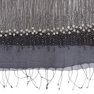 Silk scarf with silver-metallic wire and applied metal flowers