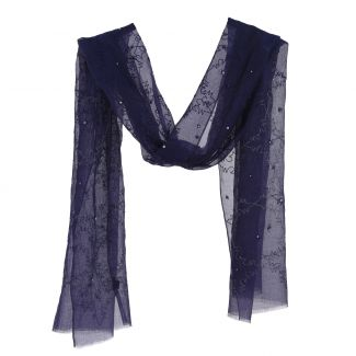 Navy silk and cotton scarf with silver thread and pearls