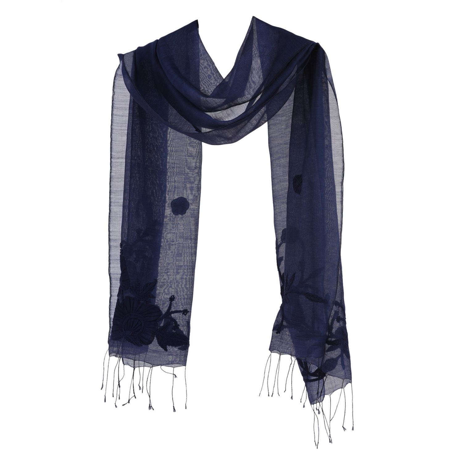 Navy Marina D'Este silk and wool scarf with applied flowers
