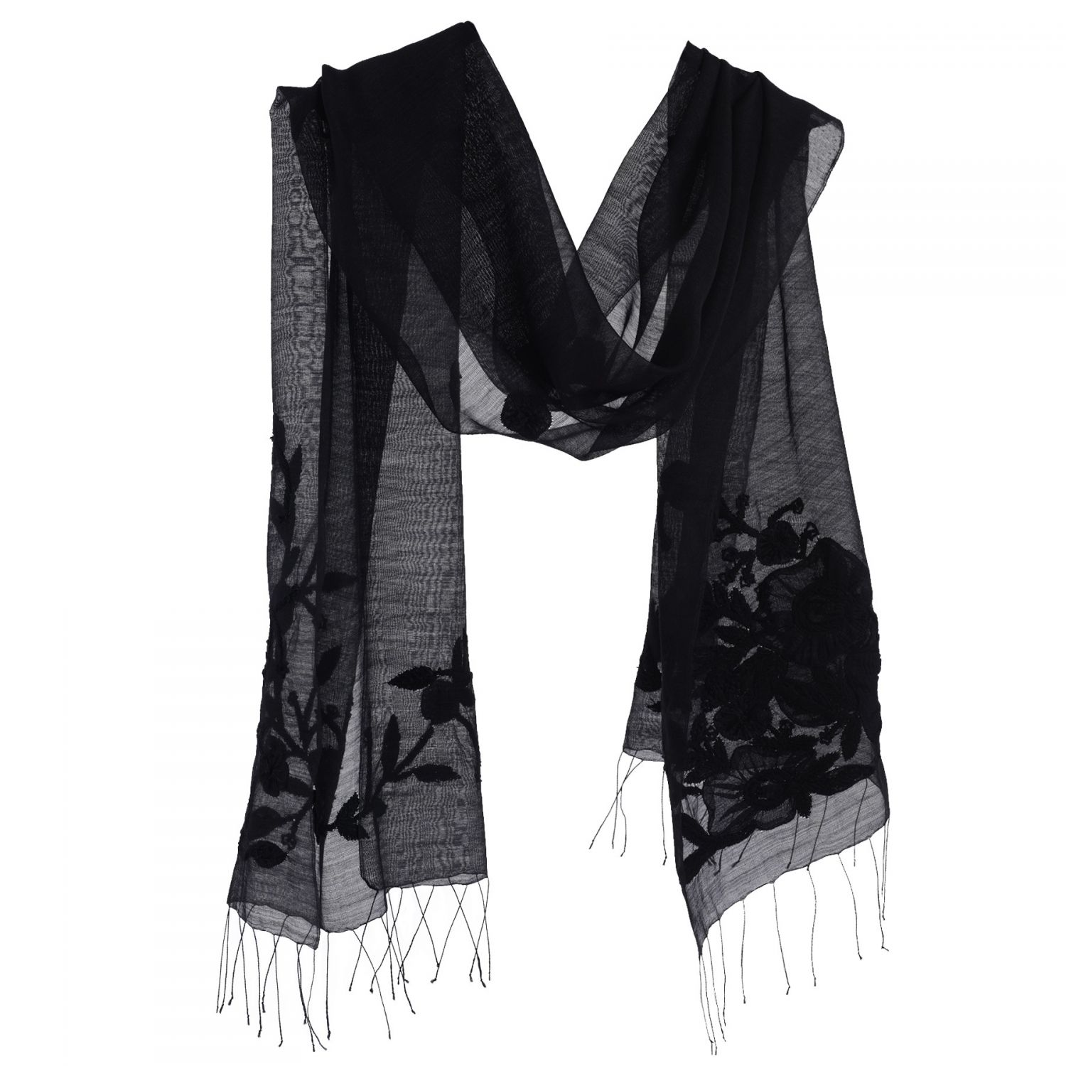 Silk and wool black Marina D'Este scarf with applied flowers