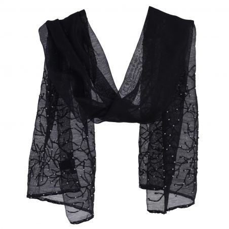 Marina D'Este  Black wool and silk scarf with pearls