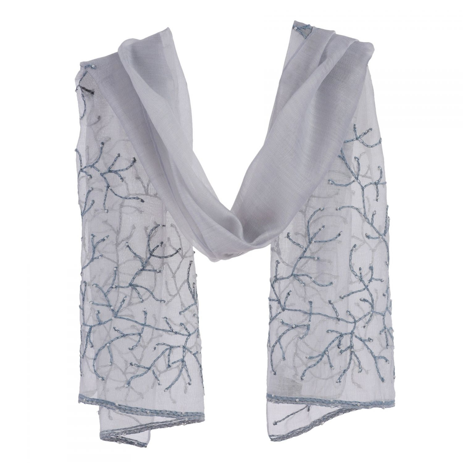 Silk and wool gray Marina D'Este scarf with pearls