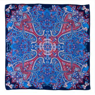 Silk scarf Bohemian Paisley navy