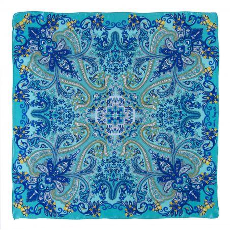 Silk scarf Bohemian Paisley turcoise