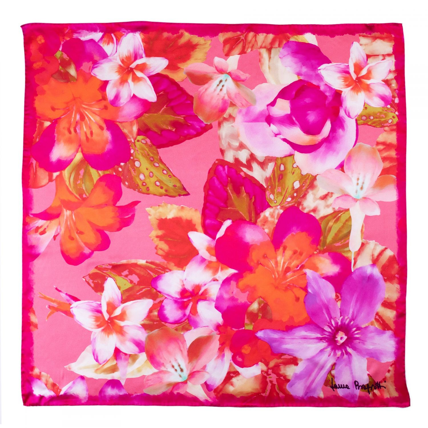 Silk scarf Floral Obssesion pink