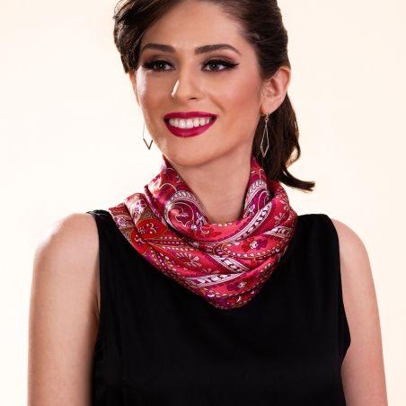 Silk scarf Bohemian Paisley fucsia