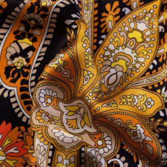 Silk scarf Bohemian Paisley black