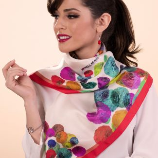 RR Zinnie Red silk scarf