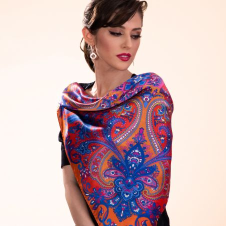 Silk scarf Bohemian Paisley orange
