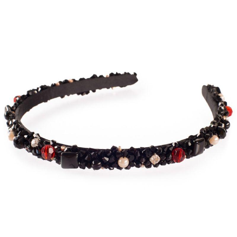 Headband Glamour negru cu pietre semipretioase
