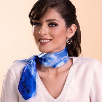 Silk scarf Just Spring blue
