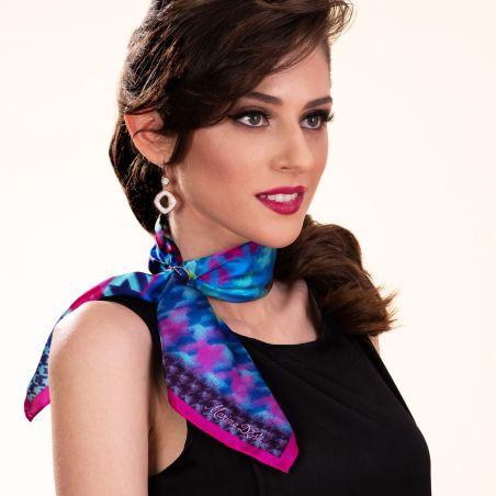 Silk scarf Iconic Memory fucsia