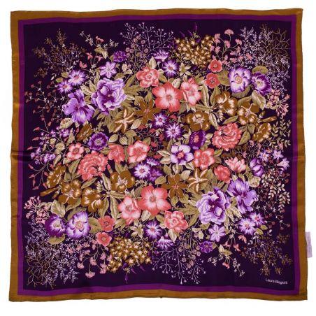 Esarfa mătase naturală flori lila