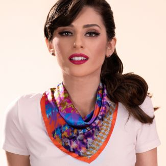 Silk scarf Iconic Memory orange