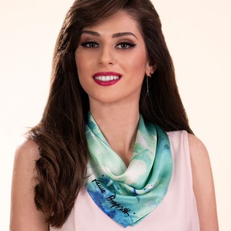 Silk scarf Just Spring  Aqua
