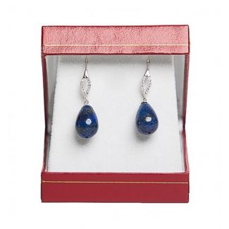 Gift: Aquarela Delicate Blue silk scarf and cubic zirconia oval lapis sharp drops silver earrings