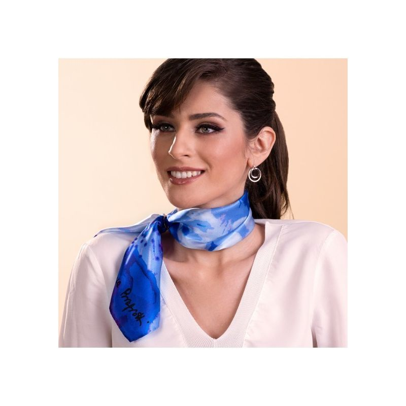 Gift: Just Spring blue silk scarf and si silver scarf ring