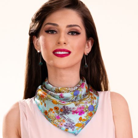 Esarfa matase Essence of Summer turcoaz