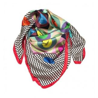 Gift: RR Raviolli Red silk scarf and silver scarf ring