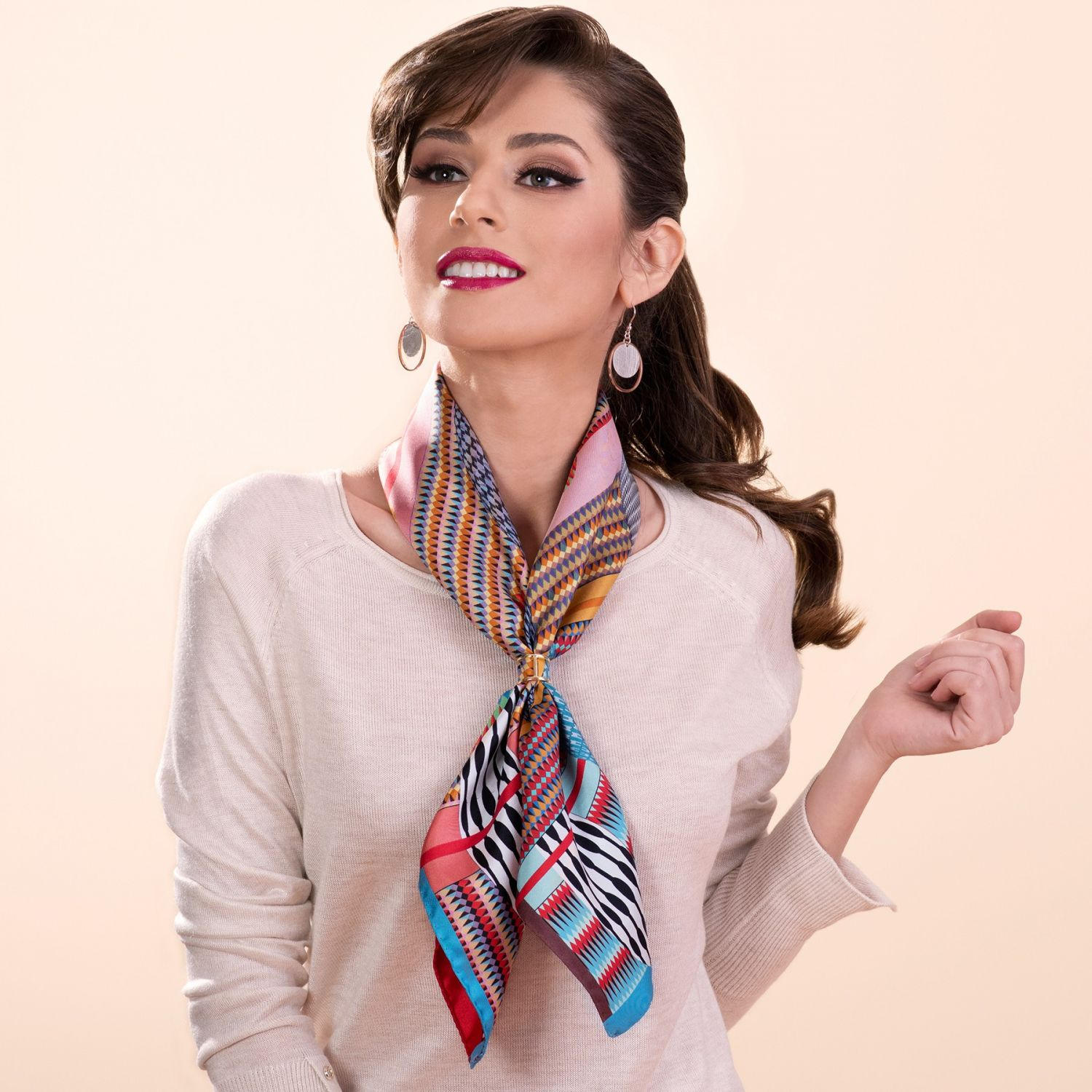 Gift: RR 70 Multiplanet rose silk scarf and silver scarf ring