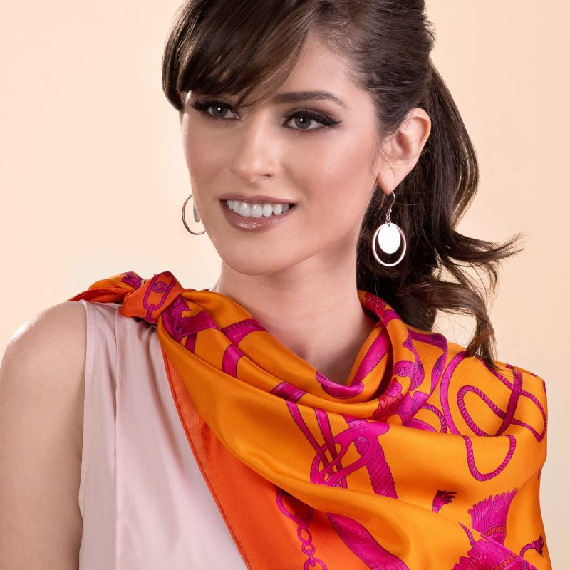 Gift: Loveday Spicey silk scarf and silver earrings Dream Big