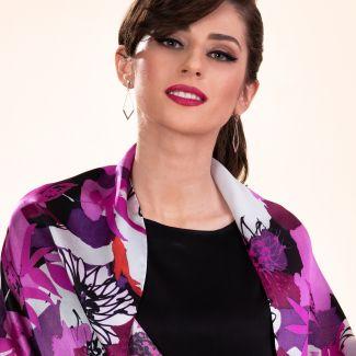Silk shawl Easy to fit fucsia