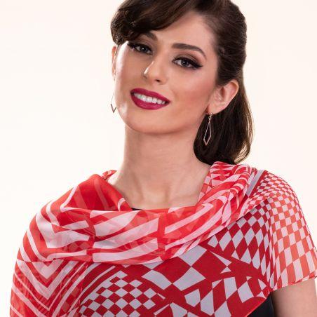 Silk shawl Retro Vibes red
