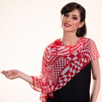Silk shawl Retro Vibes red
