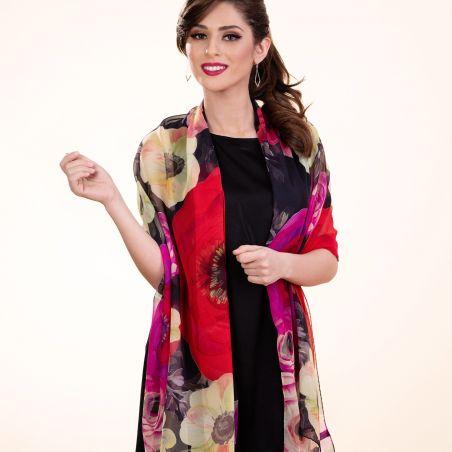Silk shawl Calla Rossa dark