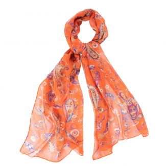 Silk shawl Sweet Paisley orange