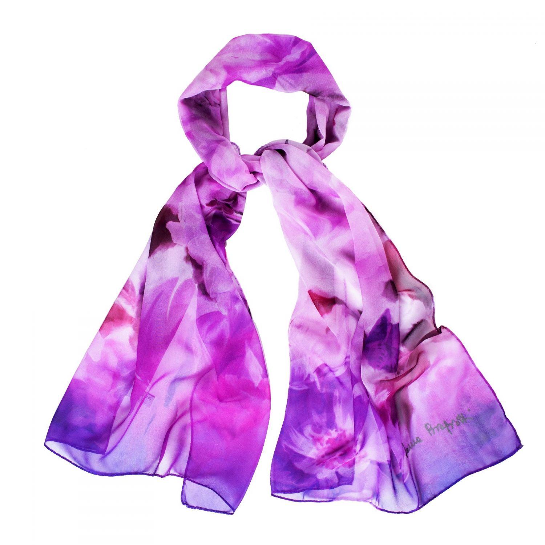 Silk shawl Violet Roses