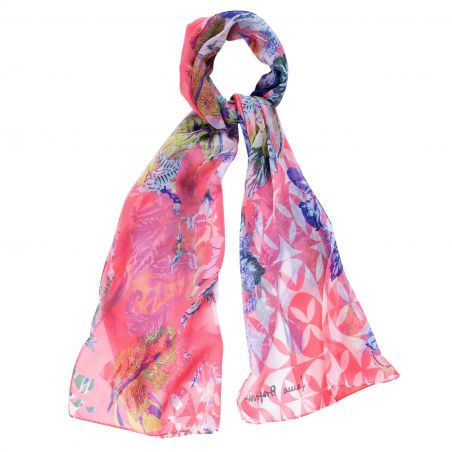 Silk shawl Exotique flowers corai
