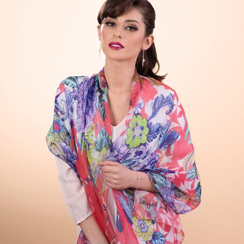 Silk shawl Exotique flowers corai