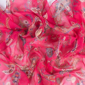 Silk shawl Sweet Paisley fucsia