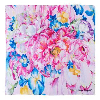 Twill silk scarf Aquarela Delicate pink