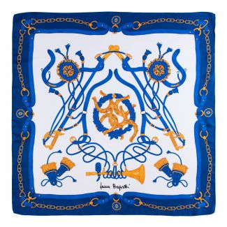 Twill silk scarf Loveday navy