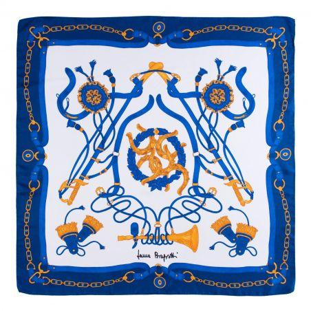Twill silk scarf Loveday navy