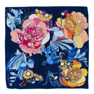 Silk scarf S Japanese Flowers navy