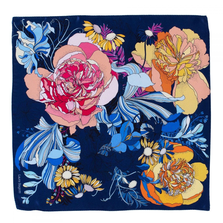 Silk scarf S Japanese Flowers navy