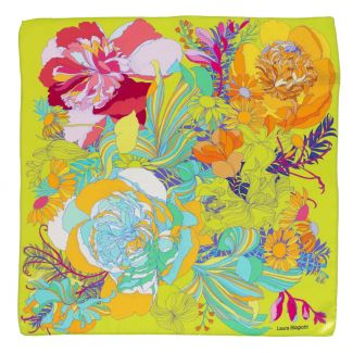 Silk scarf S Japanese flowers greenery