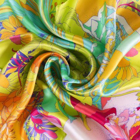 Silk scarf S Japanese flowers greenery