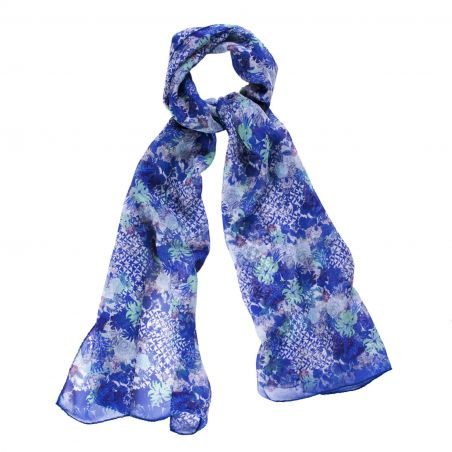 Silk shawl Bella Picollo Fiore blue