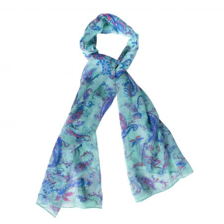 Silk shawl Sweet paisley turcoise