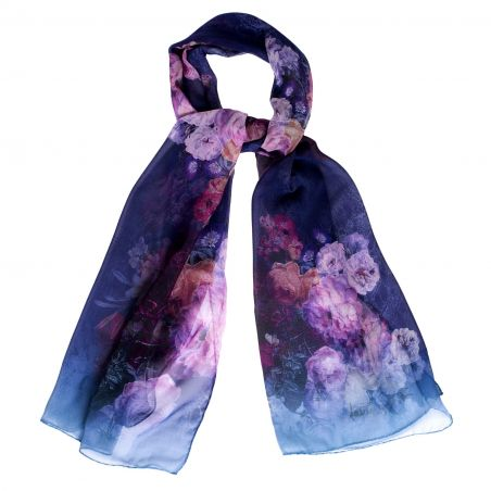 Silk shawl Buchete Albastru