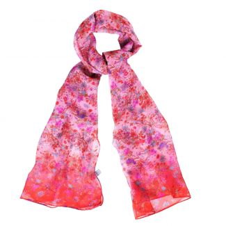 Silk shawl Millefiori red