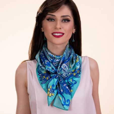 Gift: Bohemian Paisley Turquoise silk scarf and silver scarf ring