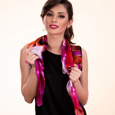 Gift: True Colors Red silk scarf and V for Victory silver earrings