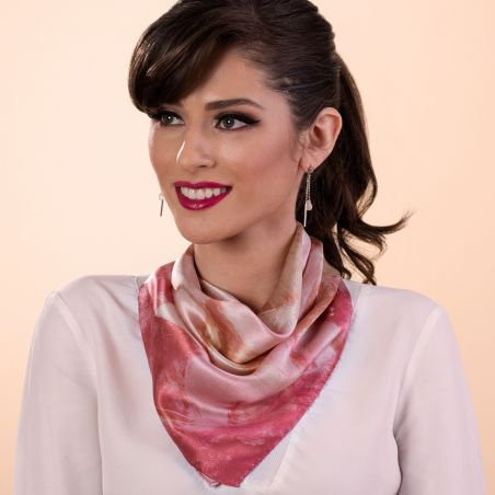 Gift: First Moment Rose Blush silk scarf and Pink Muse Quartz silver earrings