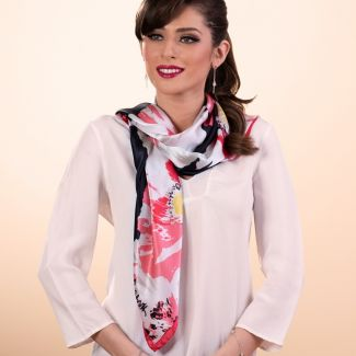 Gift: It's a poppy flower rose silk scarf and